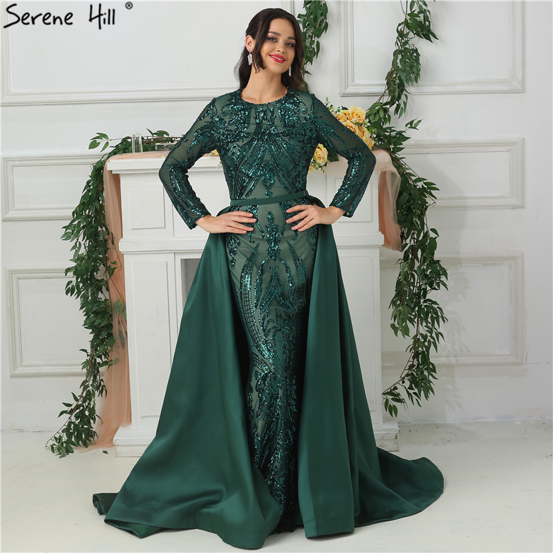 Green Long Sleeves Luxury Mermaid Evening Dress Appliques Sequined Fashion With Train Evening Gowns 2019 Serene Hill LA6613