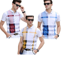 HAYBLST 2019 New polo shirt men 3 pieces plaid brand clothing short sleeve breathable plus size XXXL homme camisa tops & tees
