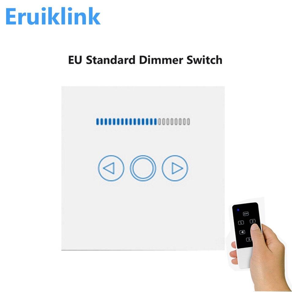 Interrupteur gradateur Standard de l'ue, lampe à distance sans fil RF433 à écran tactile, interrupteur gradateur pour applique murale fonctionne avec Broadlink Rm Pro/Geeklink