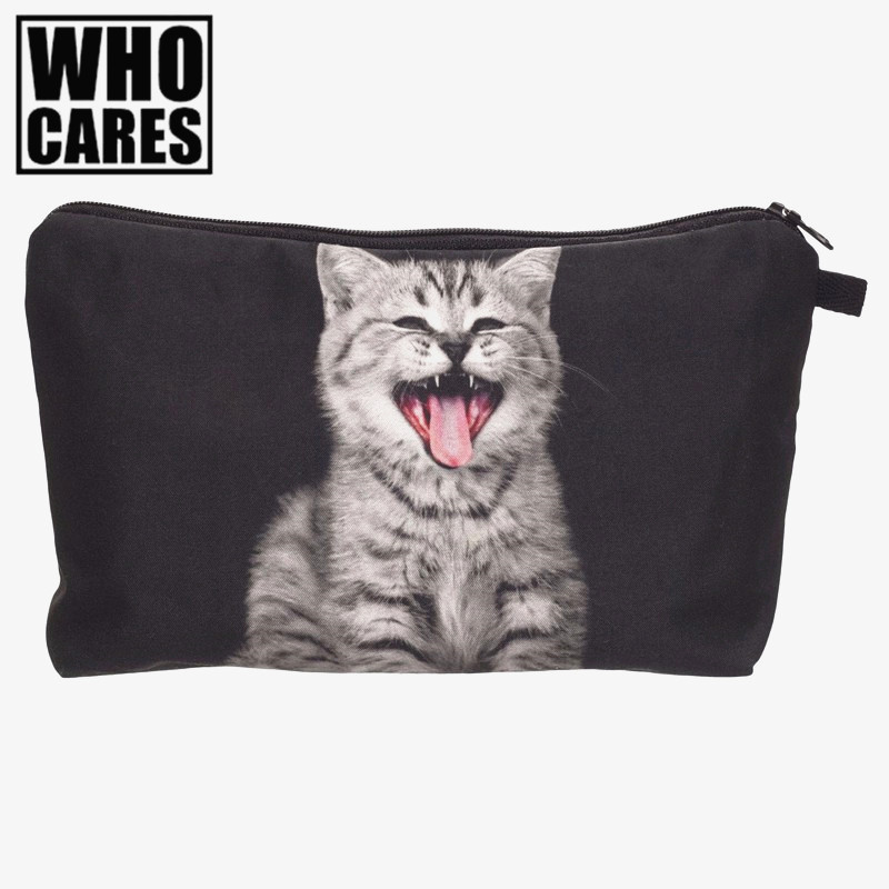 Tongue cat 3D Printing cosmetic bag 2016 Fashion makeup bag women pouch travel organizer trousse de maquillage pencil case bags