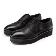 Fashion black platform shoes mens casual shoes genuine leather flats mens outdoor shoes