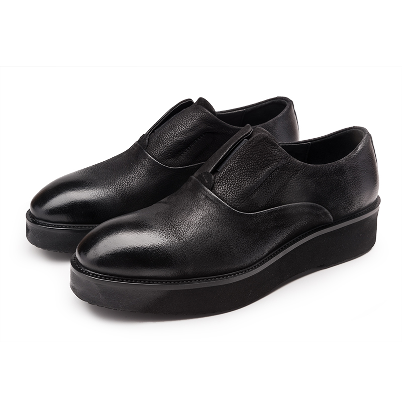 Fashion black platform shoes mens casual shoes genuine leather flats mens outdoor shoes
