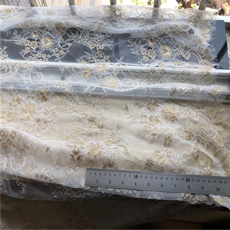 3 mètre/lot or mélangé blanc moelleux texture français cils dentelle tissu robe de mariée moelleux robe tissu - 3