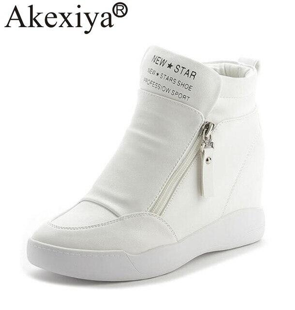 Akexiya Gizli Topuklu Beyaz Siyah Platformu Takozlar Ayakkabı Kadın Ayakkabı Yüksek Top PU Deri Kadın koşu ayakkabıları