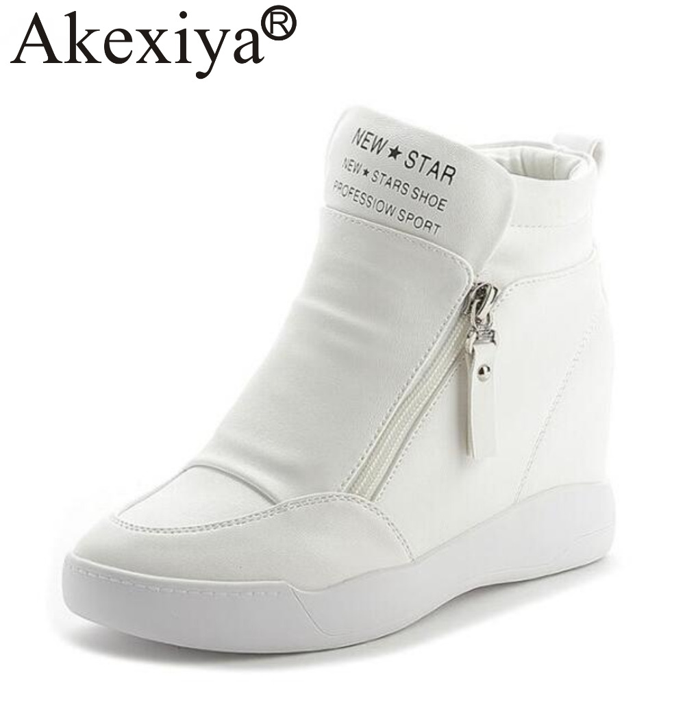 062ad40ea02e Detail Feedback Questions about Akexiya Hidden Heels White Black Platform  Wedges Sneakers Women Shoes High Top PU Leather Woman Running Shoes on ...