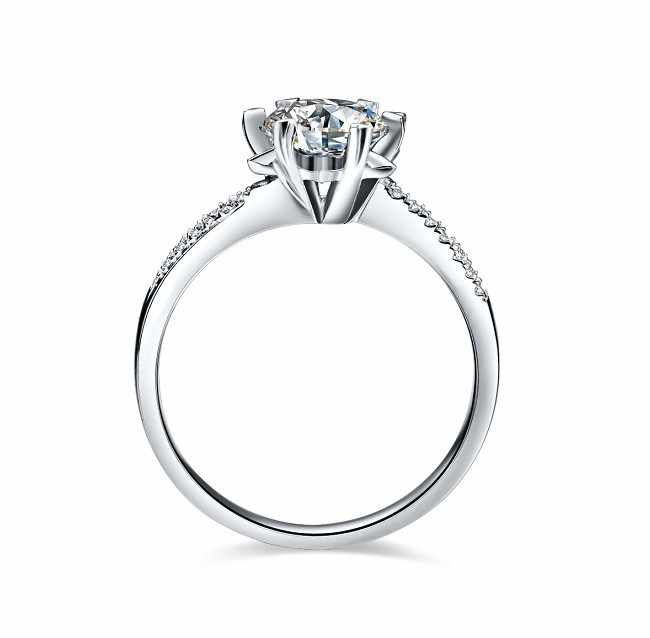 Spiffing floco de neve estilo sólido 585 ouro branco 1 ct real moissanite anel de noivado para o casamento feminino anel de aniversário
