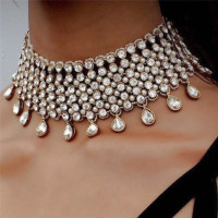 Punk Ladies Stylish Alloy Rhinestone Bohemian Collar Choker Necklaces Women Statement Bib Necklace AAA Crystal Jewelry