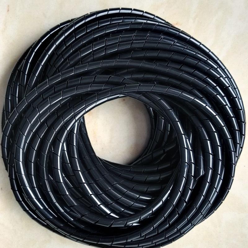 LNIEGE 10M Long Black PE poly/éthyl/ène Spiral Cable Wire Wrap Tube