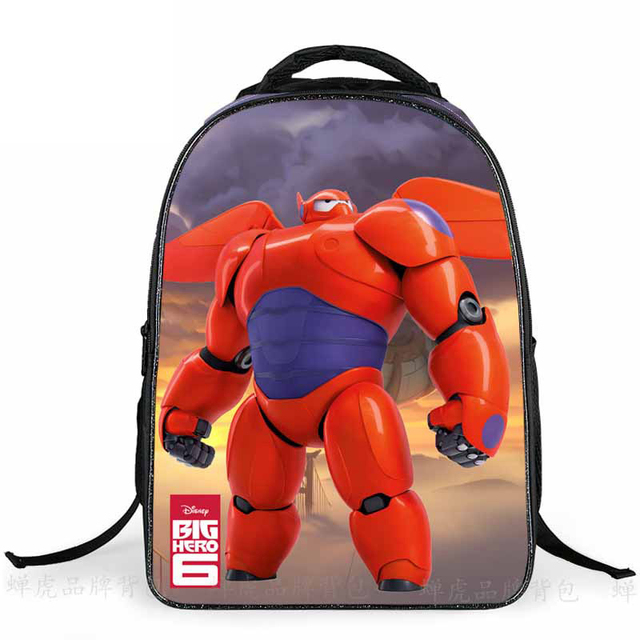 Мультфильм Подарок Для Детей Большие Hero6 Baymax Печать Начальной Школы Ребенок BookBags Рюкзак Школьный для Детей