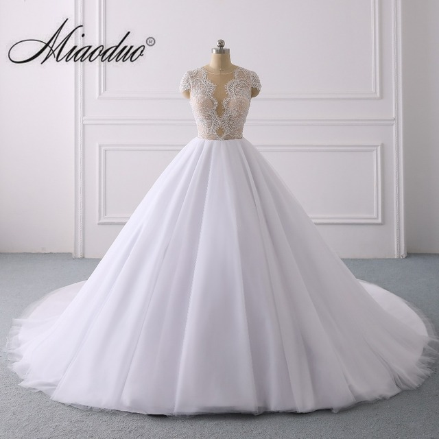 2019 White Ball Gown Princess Wedding Dresses with Cap Sleeve Vestido de Noiva branco Plus Size hochzeitskleid trouwjurken