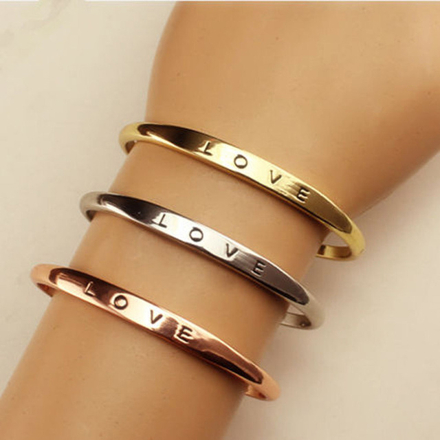 3 Colors Gold Love Bracelet Simple Europe Style Zinc Alloy Bracelets For Women Bangles Jewelry Gifts