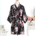 Negro de Satén de Las Señoras ropa de Dormir Camisón Corto Vestido de Las Mujeres Chinas Robe Vestido Vintage Yukata Kimono Salón de la Ropa de Dormir Pijamas