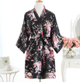 Preto de Cetim Das Senhoras Camisola Curta Sleepwear Mulheres Chinesas Robe Vestido Vestido Do Vintage Kimono Yukata Vestido Nightwear Salão Pijama