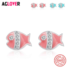 2018 New Arrival Fashion Charm 925 Sterling Silver Cute Fish Inlay Shiny Zircon Ladies`Stud Earrings Women Jewelry Wholesale new arrival cute 925 sterling silver wings zircon stone stud earrings for women fashion jewelry 2019