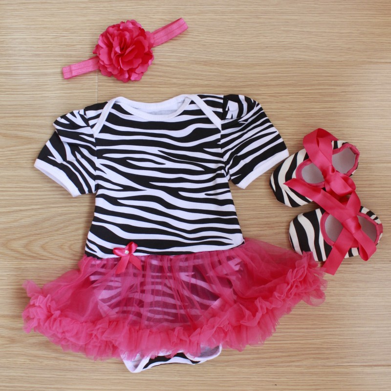 Baby Rompers 3PCs Infant Clothing Set Baby Girls Hot Pink Zebra Printed Tutu Dress Jumpersuit Headband Shoes