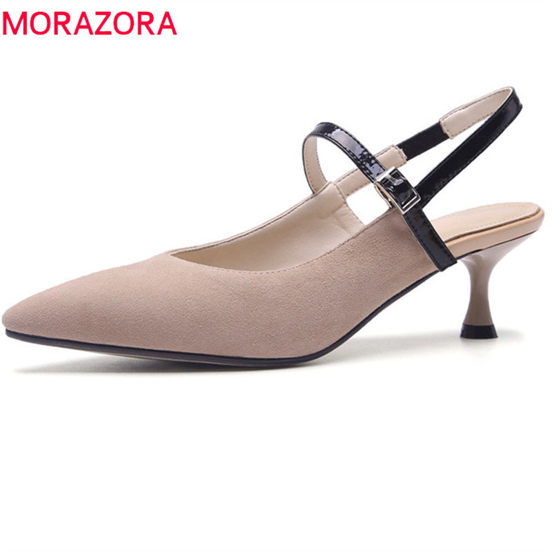 MORAZORA 2018 new arrival women sandals suede leather summer shoes pointed toe casual shoes comfortable med heels shoes 2018 kid suede brand summer shoes peep toe slingbacks women sandals runway fur strange style med heels casual vacation shoes l30