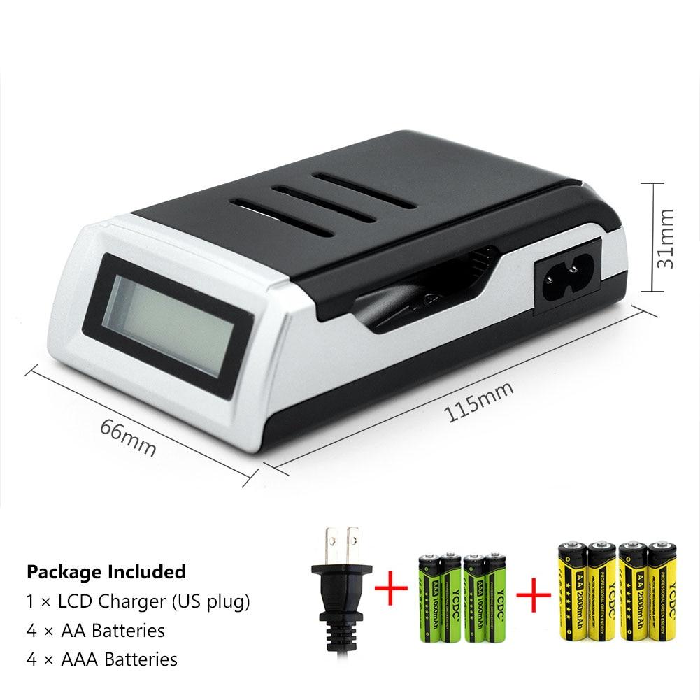 YCDC 4 Types de Prise Chargeur De Batterie NOUS EK D'AU D'UE C905W Chargeur Intelligent LCD Indiquent Chargeur Avec 4 pièces AA et AAA Ni-MH Batteries