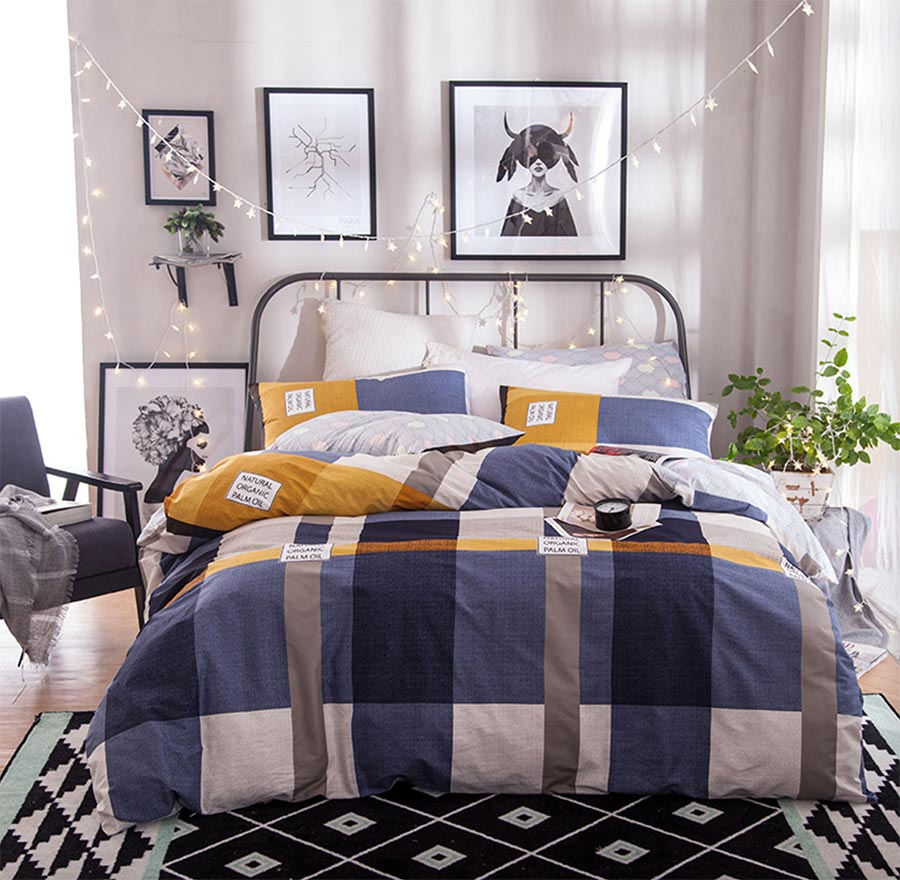 Boy plaid bedding - Geometric Plaid Bedding Set Adult Teen Kid Manly Boy Cotton Full Queen Checked Home Textiles