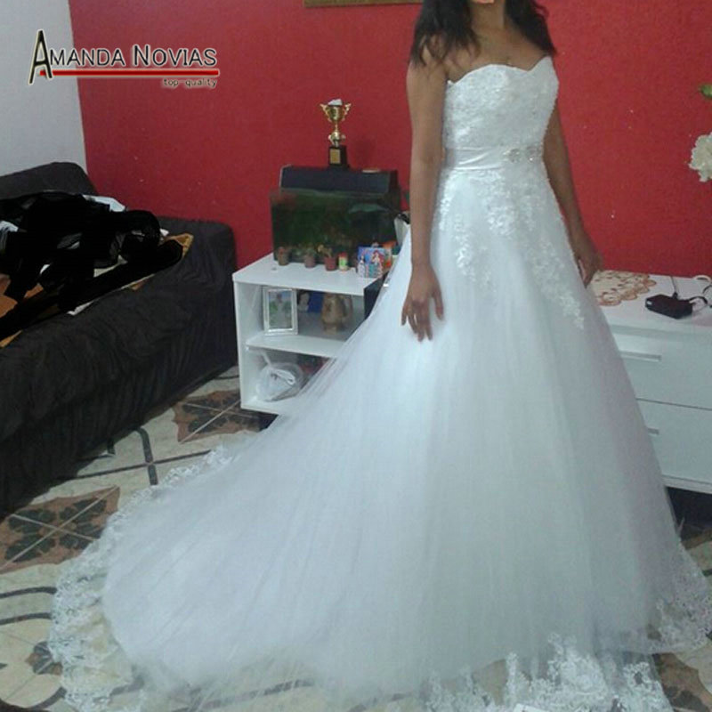 Vestido de Noivas New Lace Designer Real Photos Ball Gown Puffy 2015 ...