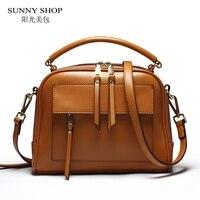 SUNNY SHOP Brand Designer Women Leather Bag High Quality Genuine Leather Handbag Cowhide Women Shoulder Bags