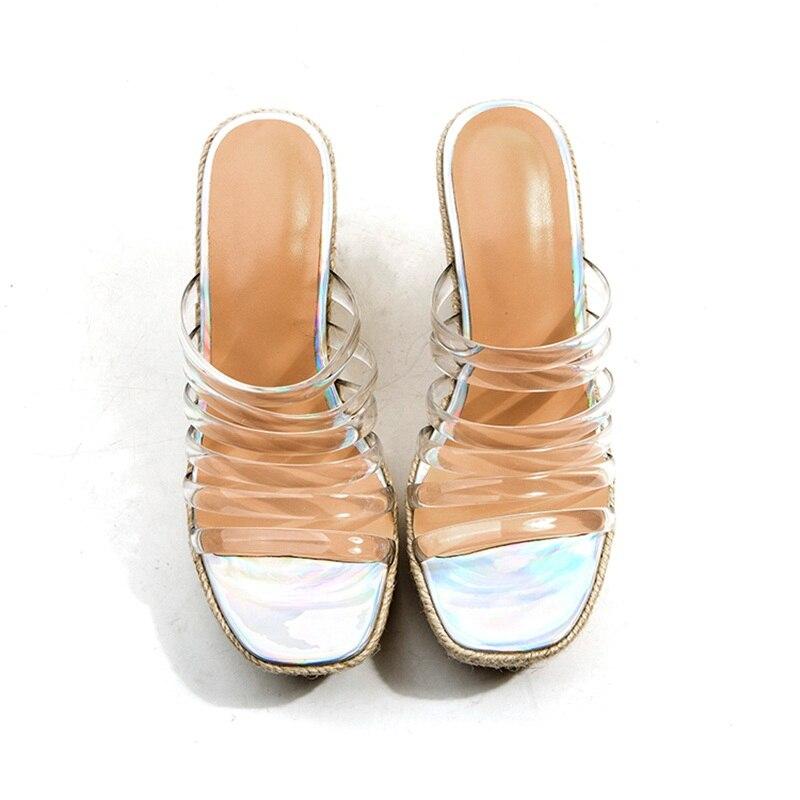 Haute Mode Zvq Cm Plateforme En Chaussures Pantoufles Carré Bande Femmes Étroite Bout Talon Coins Super Color Transparent Nouvelle Plastique Extérieur Hauteur 10 qgSU8Axwq