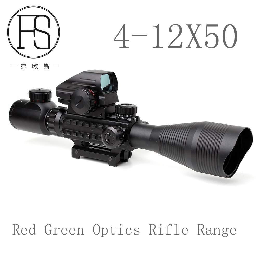 4-12X50 Tactical Optics Rifle Range Red Green Bilateral Lighting with Side Rail and Mounted for 20mm Railway Shotgun Gun menat amulets mb 016 motorcycle bag bilateral package saddle bag bilateral package side bags