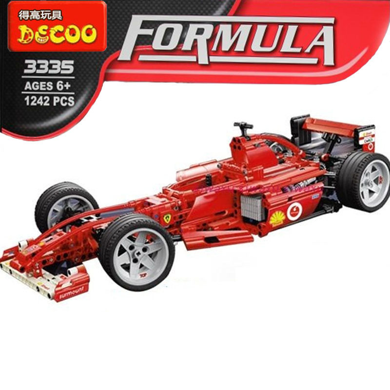 все цены на 1242pcs decool 3335 F1 Formula Racing Compatible with lego Toy building blocks 1:8 car model self-locking bricks Leping онлайн