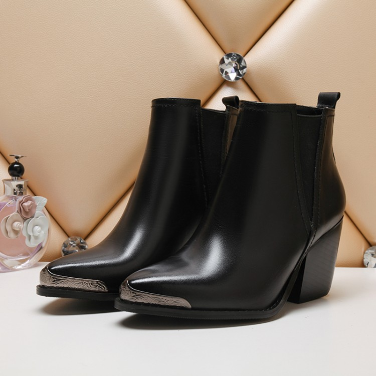 ФОТО Women's boots 2016 fashion leisure metal decoration real cowhide thick heel pointed boots