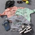 Детские полосатые Футболки весна 2017 Хан мужская с длинными рукавами рубашки tx-8413 девственные дети