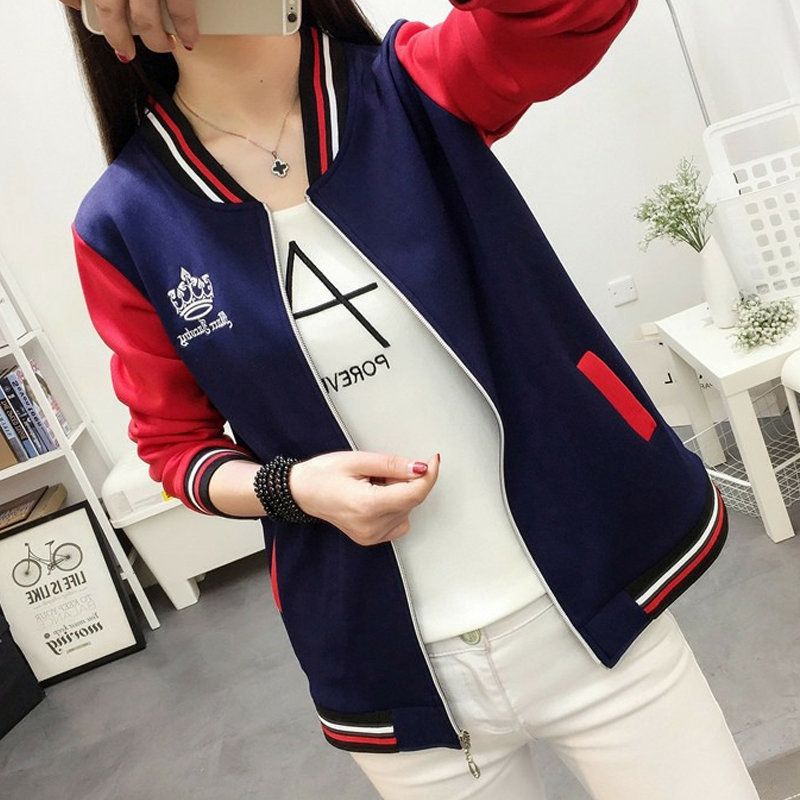 2019 Women's Patchwork   Jacket   Coat Female   Basic     Jackets   Autumn Long Sleeve Baseball   Jackets   Plus Size 4XL 5XL