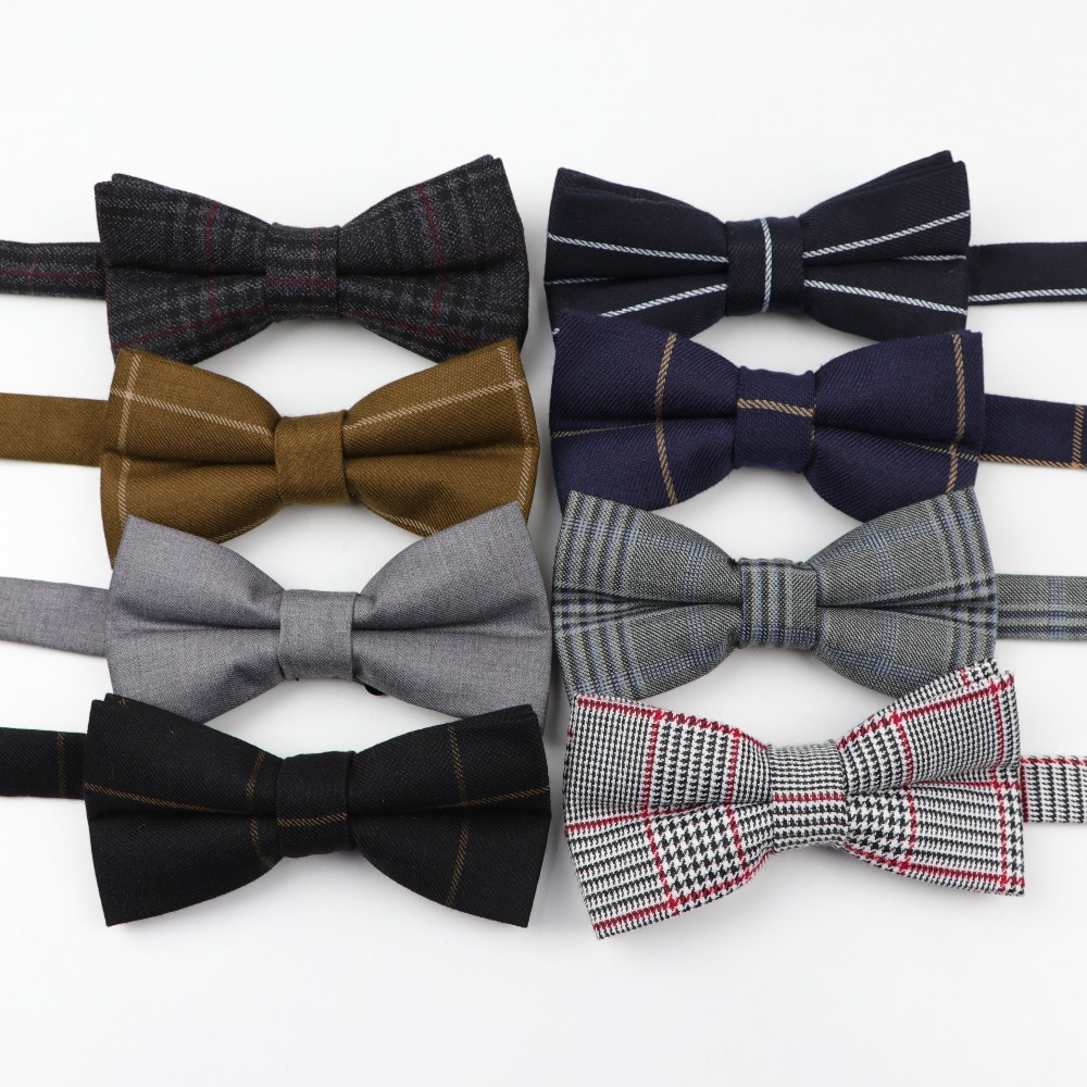 High Quality Mens Fashion Diamond Check Artificial Fabric Of Business Suit Striped Skinny Butterfly Men Bow Ties Designer Cravat