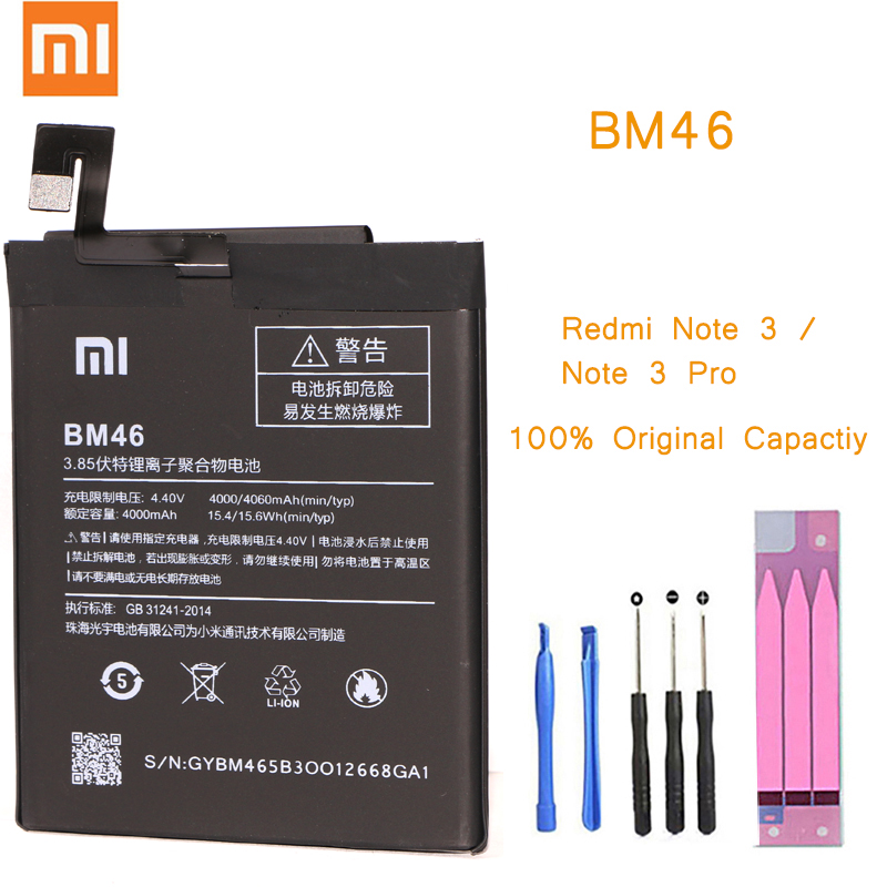 Original Phone <font><b>Battery</b></font> for <font><b>Redmi</b></font> <font><b>Note</b></font> <font><b>3</b></font> <font><b>Battery</b></font> <font><b>Xiaomi</b></font> hongmi Note3 <font><b>Pro</b></font> BM46 Replacement <font><b>Batteries</b></font> Package Red rice bateria image