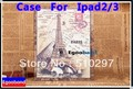 Vintage Paris Eiffel Tower London Big Ben Ferris Wheel PU Leather+Plastic Shell Case Cover For Ipad 2 3 4 Stand Case Protector