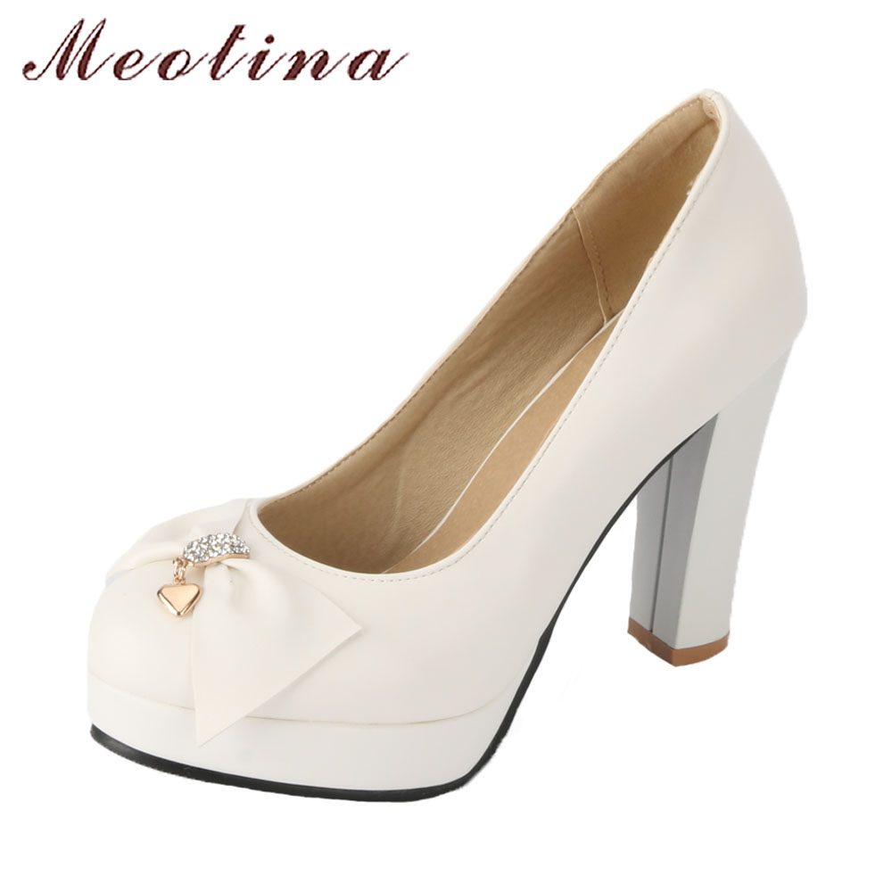 Meotina Women Wedding Bridals Shoes Rhinestones Platform High Heels Pumps 2018 Spring Shoes Bow White Shoes Slip On Big Size 43 meotina high heels shoes women wedding shoes platform high heel pumps ankle strap bow spring 2018 shoes white pink big size 43