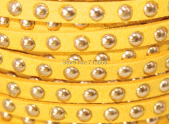 Free Ship 100 Meters Golden Yellow  5 x1.5mm w/ Gold Rivet Accents Microfiber Flat Faux Suede LeatherLace Cord For DIYJewelry