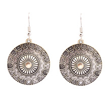 silver color round drop dangle earring
