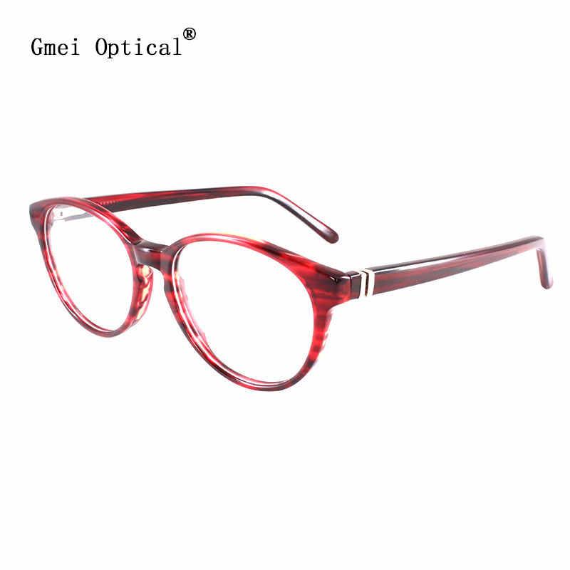 Gmei Optik Burgundy Asetat Penuh Rim Resep Kacamata Bingkai Tontonan untuk Wanita Kacamata dengan Spring Engsel T8062