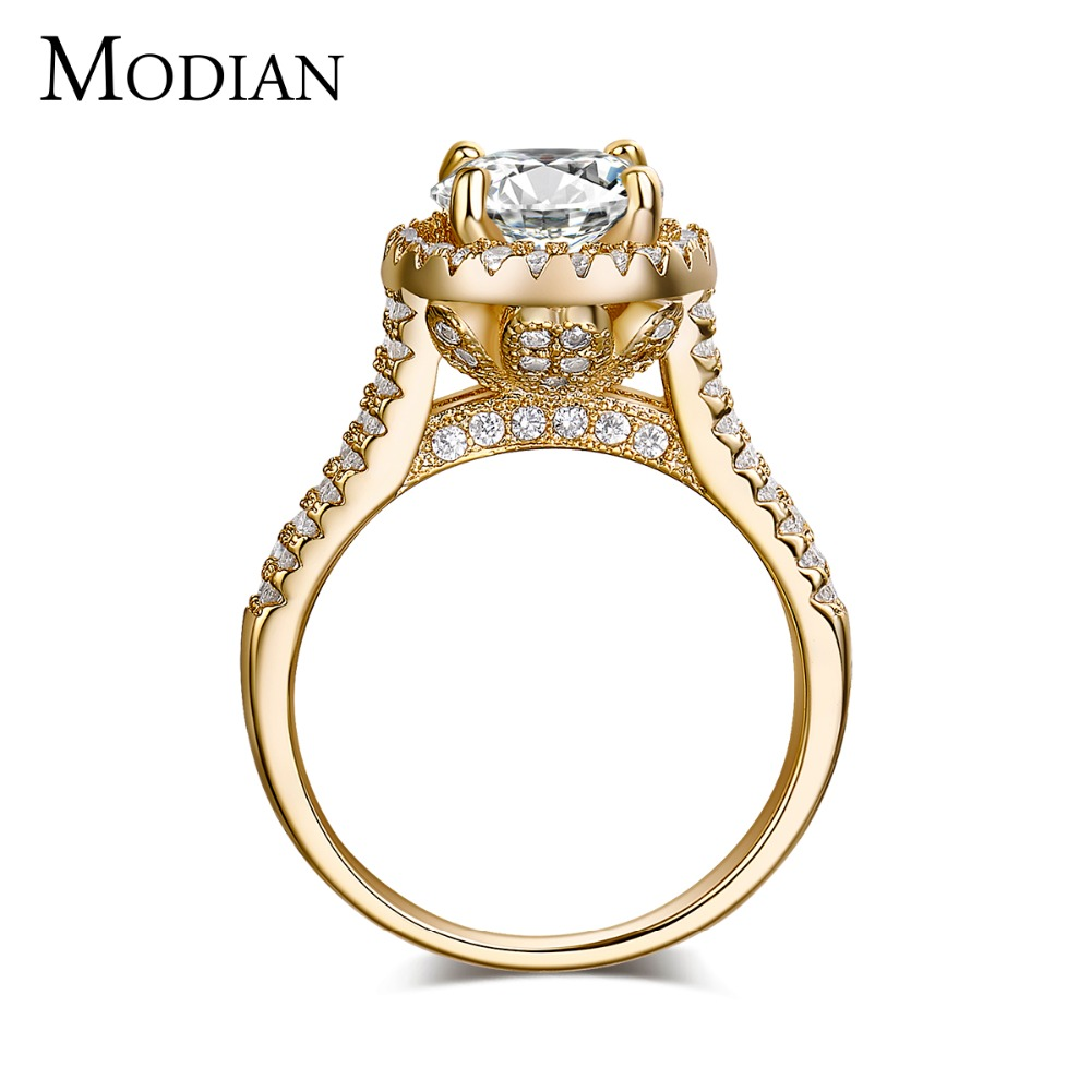 2017 new fasion jewelry real 925 sterling silver ring Gold Color Classic engagement wedding rings