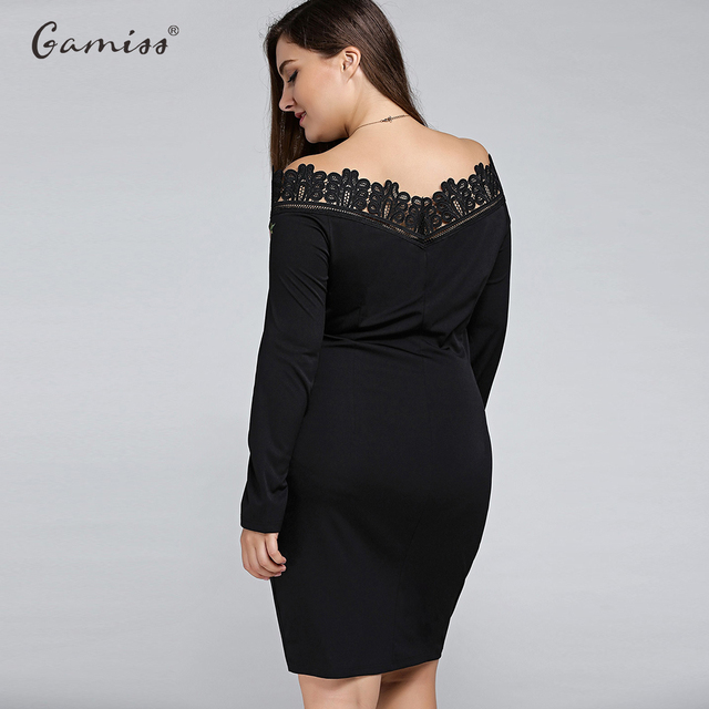Plus Size Embroidered Off The Shoulder Sheath Midi Party Dress OL Sexy Patchwork Bodycon Pencil Dress 5XL
