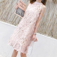 New fashion women dress sleeveless Summer 2019 Chiffon tassel printed round collar bow pink sexy 535J