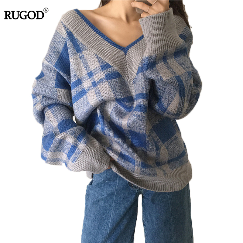 RUGOD Plaid Knitted Loose Sweater Winter 2018 Comfortable Female Pullover V neck Women Sweaters and Pullovers