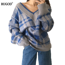 RUGOD Plaid Knitted Loose Sweater Winter 2018 Comfortable Female Pullover V-neck Women Sweaters and Pullovers sueter mujer