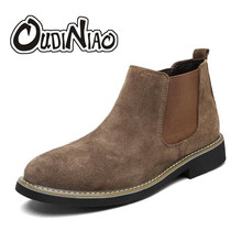 OUDINIAO 봄 패션 첼시 Boots Men Slip 에 소 Suede 카우보이 Boots 망 Round 분할 가죽 Men Ankle Boots 겨울(China)