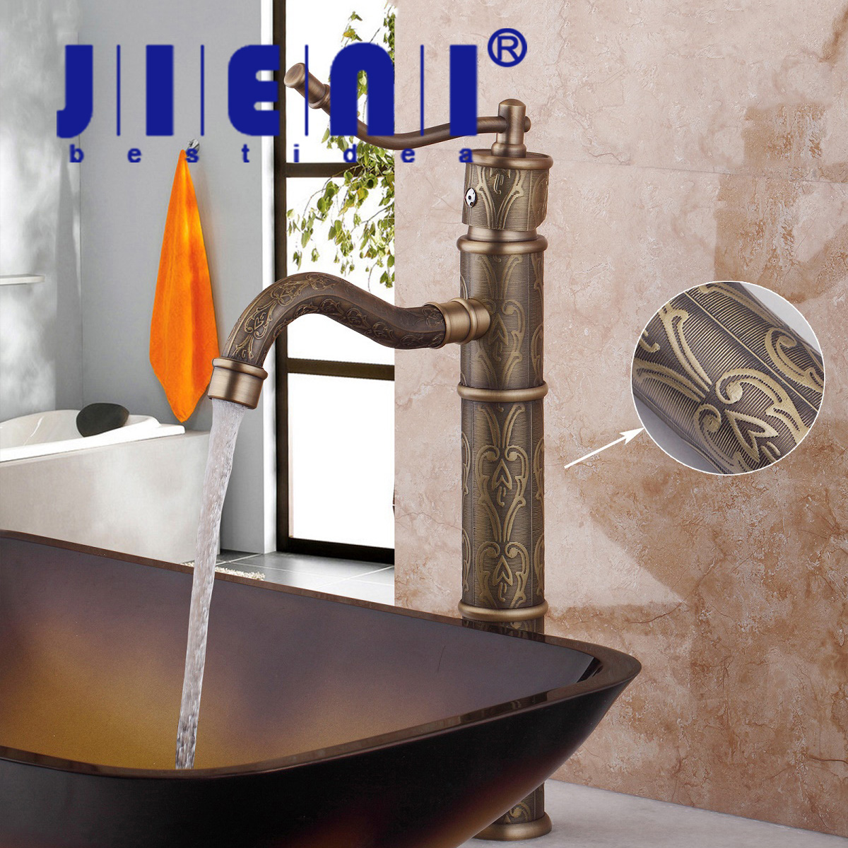 7 Faucet Finishes For Fabulous Bathrooms: JIENI DE Antique Brass Finish Deck Mounted Tap Bathroom