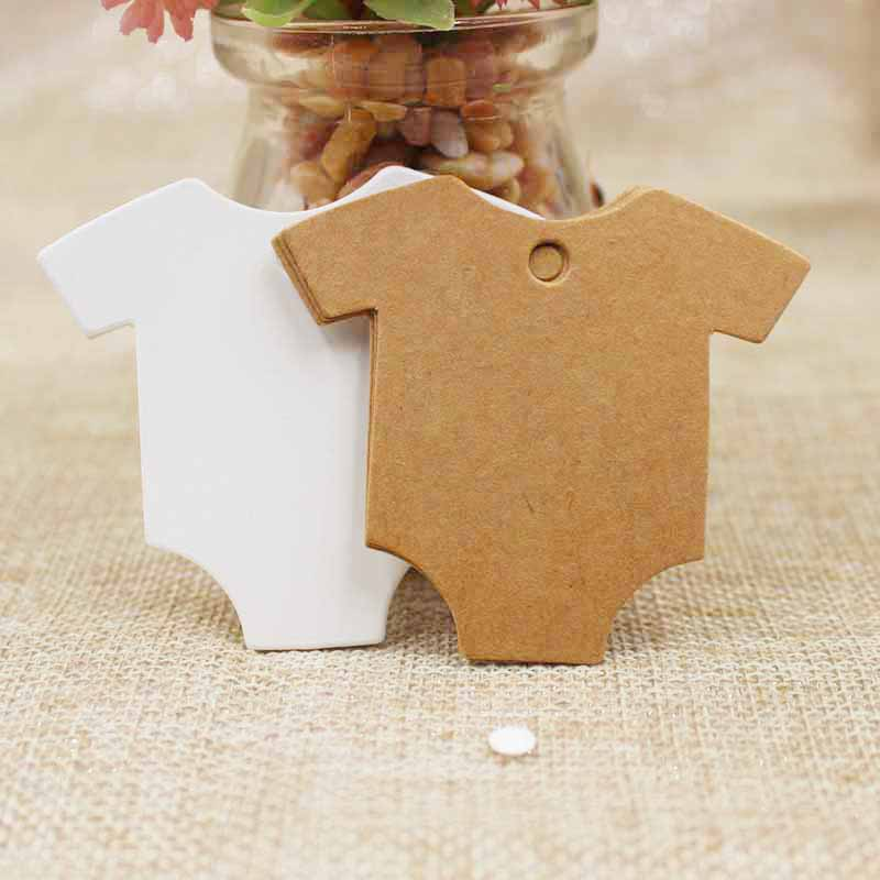 5.4*6.5cm T-shirt Kraft/white Paper Label DIY Blank Wedding Birthday Gift Wish Greeting Card Swing Tag Luggage Hang Tag 100pcs
