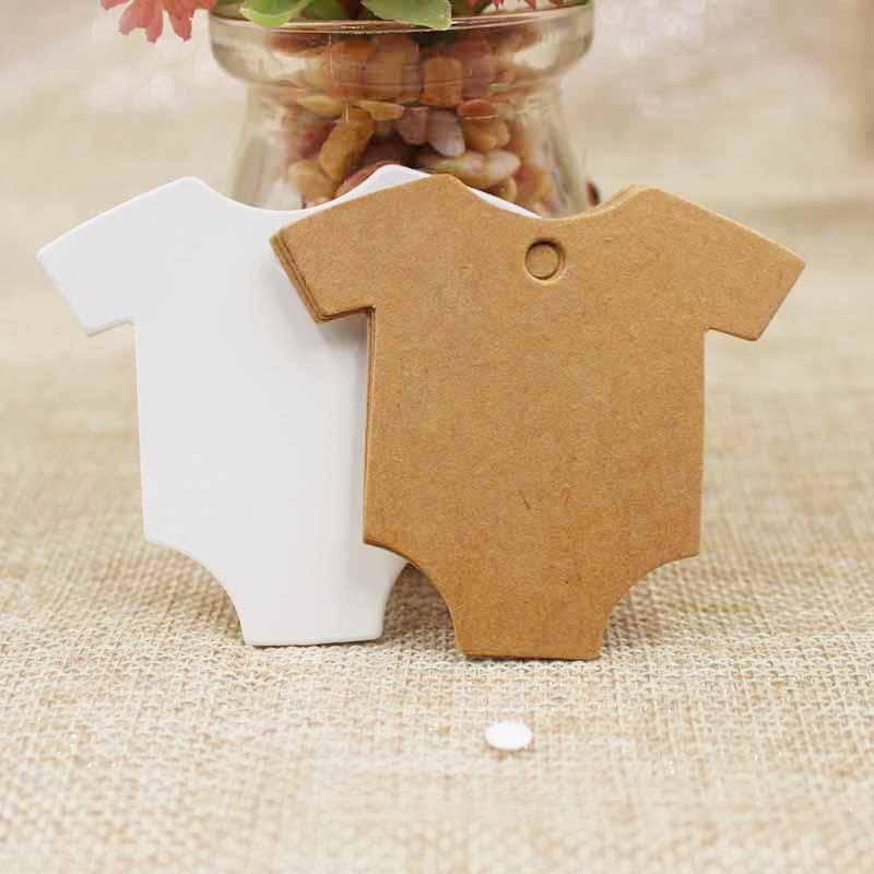 5.4*6.5cm T-shirt Kraft/white Paper Label DIY Blank Wedding Birthday Gift Wish Greeting Card Swing Tag Luggage Hang Tag 100pcs