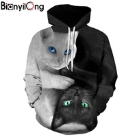2017 3D Hoodies Men Hooded Sweatshirts Two Cat 3D Print Hoody Casual Pullovers Streetwear Tops Autumn
