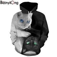 2017 3D Hoodies Men Hooded Sweatshirts two cat 3D Print hoody Casual Pullovers Streetwear Tops Autumn Regular Hipster hip hop(China)
