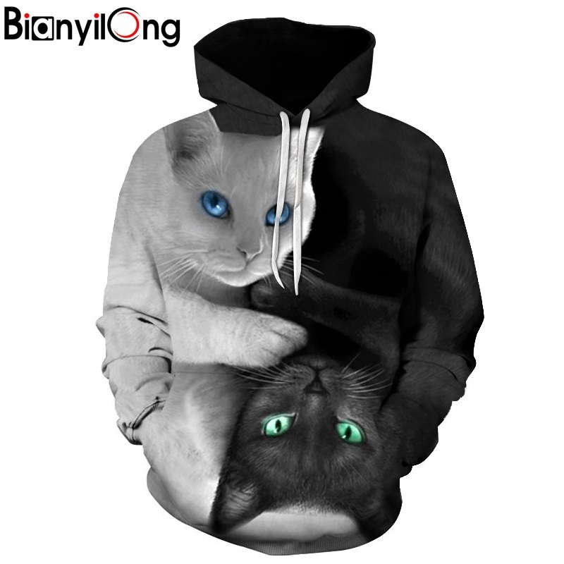 2017 3D Hoodies Men Hooded Sweatshirts two cat 3D Print hoody Casual Pullovers Streetwear Tops Autumn Regular Hipster hip hop