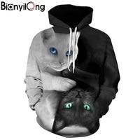 2017 3D Hoodies Men Hooded Sweatshirts Two Cat 3D Print Hoody Casual Pullovers Streetwear Tops Autumn